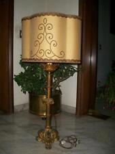 bellissima antica lampada da terra bronzo dorato con cappello tessuto  ricamato d8cc7db7537c