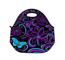 Purple Flower Insulated Lunch Tote Bag Picnic Portable Bag with Zipper & Handles