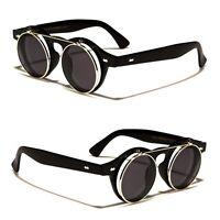 Cool Flip Up Lens Steampunk Vintage Retro Round Sunglasses Silver q