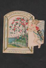 vtg 1920s #H150 Valentine Greetings Card Dan Cupid is everywhere Angel Arrow