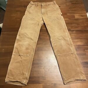 Vtg Carhartt Pants Union Made USA Tan Work Jeans 28 x 31 Logger Double Front