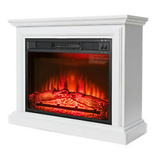 "32"" Freestanding Electric Fireplace White Mantel Firebox Heater 3D Flame w/ Log"