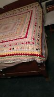 Vintage 1930s  PUFF/ YoYo  hand made quilt  bed cover Shown on full size bed