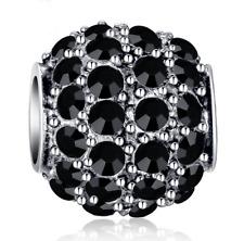 DIY Silver European CZ Charm Black Crystal Spacer Bead Fit Necklace Bracelet NEW