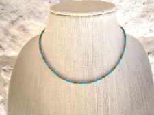 Turquoise Gold Tiny Seed Bead Beaded Choker Necklace Boho Style Bohemian