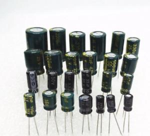 lotx5 Condensateurs 25V 10UF 100UF 220UF 330UF ... 6800UF 10000UF en aluminium