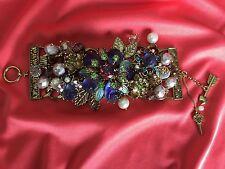 Betsey Johnson Vintage Purple Glass Carved Rose Flower Bug Pearl Garden Bracelet