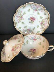 Haviland Limoges Schleiger Rose Flowers Covered TWO HANDLE Tea? Soup Cup Saucer