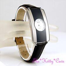 Omax Ladies Slim Swiss Seiko Movt Silver Grey & Black Curved Mirror Watch CE0007