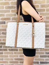 Michael Kors Sady Large Multifunctional Top Zip tote Vanilla MK Acorn Laptop Bag