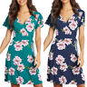 Women Holiday Short Sleeve Mini Sun Dress Ladies Casual Beach Wrap Floral Tops