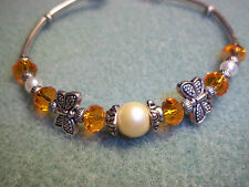 Tibetan Silver Fashion YELLOW Glass Pearl & ORANGE Crystal Bead Bracelet J-50