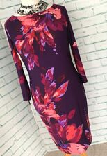 JOSEPH RIBKOFF Purple Floral Straight Dress Sz 14 UK Midi Smart / b5