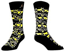 NIKE JORDAN Air Sneaker Socks Black & Yellow Youth 3Y - 5Y & Women's Small 4 - 6