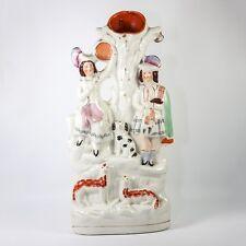 "Antique Staffordshire Spill Vase, Scottish Man in Kilt, Dog, Sheep & Girl, 14.5"""
