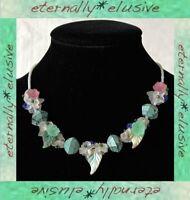 Italian Venetian Flower Art Verdigris Cluster Opaline Seed Bead Vintage Necklace