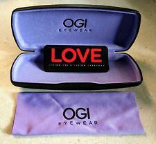 OGI Hard Black Eyeglasses / Glasses / Readers Case With Purple Interior & Cloth