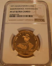 El Salvador 1971 Gold 100 Colones NGC PF-67UC Independence Anniversary