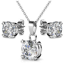 GENUINE CRYSTALS BY SWAROVSKI Solitaire Set 18KWGP - Krystal Couture KCTS493WG