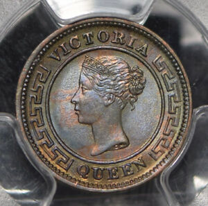 Ceylon 1901 1/4 Cent PCGS MS64BN incandescent green blue toning PC0832 combine s