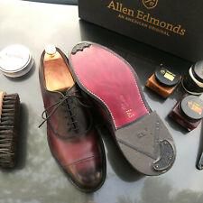 Allen Edmonds Park Avenue 9.5 D Burgundy Cap-Toe Oxfords Custom burnishing+more