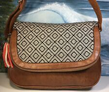 Call It Spring Womens Saddle Bag Tapestry Saychel Faux Leather EUC Very Fun Bag
