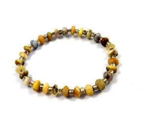 Dendrite Opal Rondelle Gemstone Beads Designer Stretchable Bracelet Jewelry B307