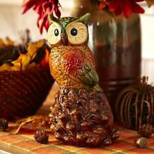 PIER 1 CERAMIC PERCHING OWL ON ACORN PINECONE STATUE FIGURINE 8 INCHES TALL