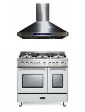 "Verona Prestige VPFSGG365DW 36"" All Gas Range Double Oven Hood Set True White"