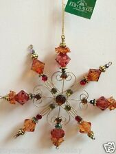 W20293 Set/3 Tuscan Beaded Heart Snowflake Christmas Ornament Holiday Red Orange