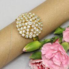 10pcs Gold Diamante Napkin Ring Serviette Buckle Holder Wedding Supplies