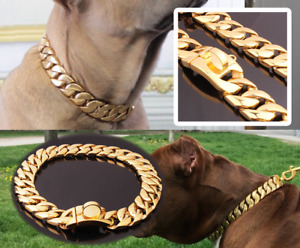 Big Dog Gold Collar Chain Necklace Solid Stainless Steel Cuban Link Large Giant