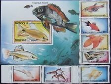 Mongolia 1987-Fishes, 7 stamps and 1 S/Sh , MNH, MG 011