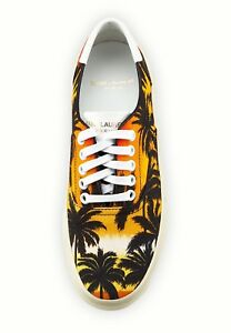Brand New Saint Laurent Multicolored Palm Tree Low-Top Sneakers Sz. 38/8 $495.00
