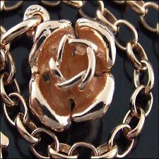 CHARM BRACELET REAL 14 KT ROSE VERMEIL GOLD TRADITIONAL SOLID FINE LINK DESIG