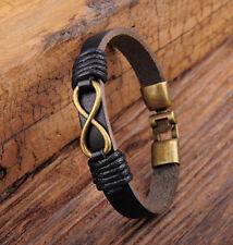 JG566 Black Rock Infinity Friendship Leather Hemp Bracelet Bangle Wristband Mens