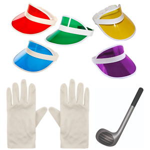 New Unisex Golf Poker Sun Visor Hat Cap Gloves Fancy Dress Party Inflat Club Set