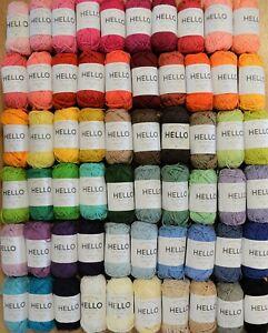 Hello 100% Cotton 25g Amigurumi Crochet Yarn  [10x Balls for £10 Mix & Match]