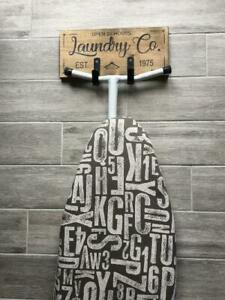 Laundry room decor, Ironing board hanger, Laundry room sign,iron hook,stained