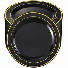 Bucla100Pieces Black Plastic Plates With Gold Rim-10.25 Inch Disposable Dinner