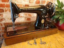 Vintage Singer 201k HandcrankSewing Machine EG847109 Serviced Leather Video