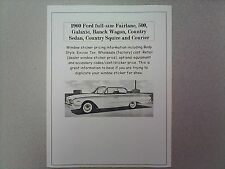 1960 Ford full-size factory cost/dealer sticker prices for car & options $