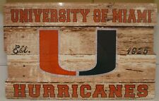 """MIAMI HURRICANES EST 1925 WOOD FENCE SIGN 19""""X30'' BRAND NEW WINCRAFT"""