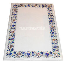 4'x2' White Marble Dining Coffee Table Top Real Lapis Lazuli Gems Marquetry Art