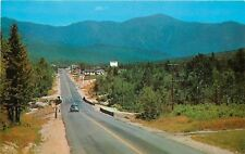 Twin Mountain New Hampshire~Highway Into town~Texaco Station~1950s Car Postcard