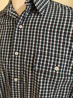 Polo Ralph Lauren Large Button Plaid Whitfield Men's L/S Shirt Blue Green White