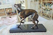 Nostalgie Hund Windhund Marmor Sockel Deko Figur 20 cm Gußeisen Bronze Optik NEU