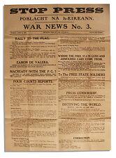 Irish Civil War Broadside Printed by Eamon deValera IRA
