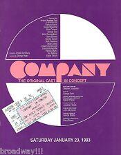 "Stephen Sondheim ""COMPANY"" Dean Jones / Elaine Stritch 1993 Reunion Program"