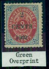 DANISH WEST INDIES #24d (24v5) 2CENTS 1902 Ovpt DARK GREEN, Rare, Facit $3,600